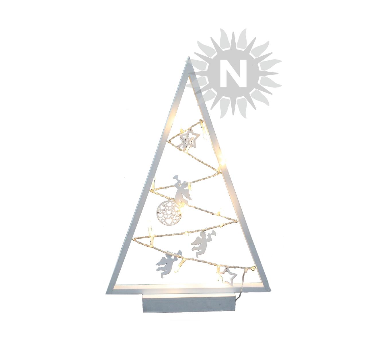 22009 – LED Weihnachtsbaum, Holz, weiß, 15 LEDs, zum Stellen, mit ...