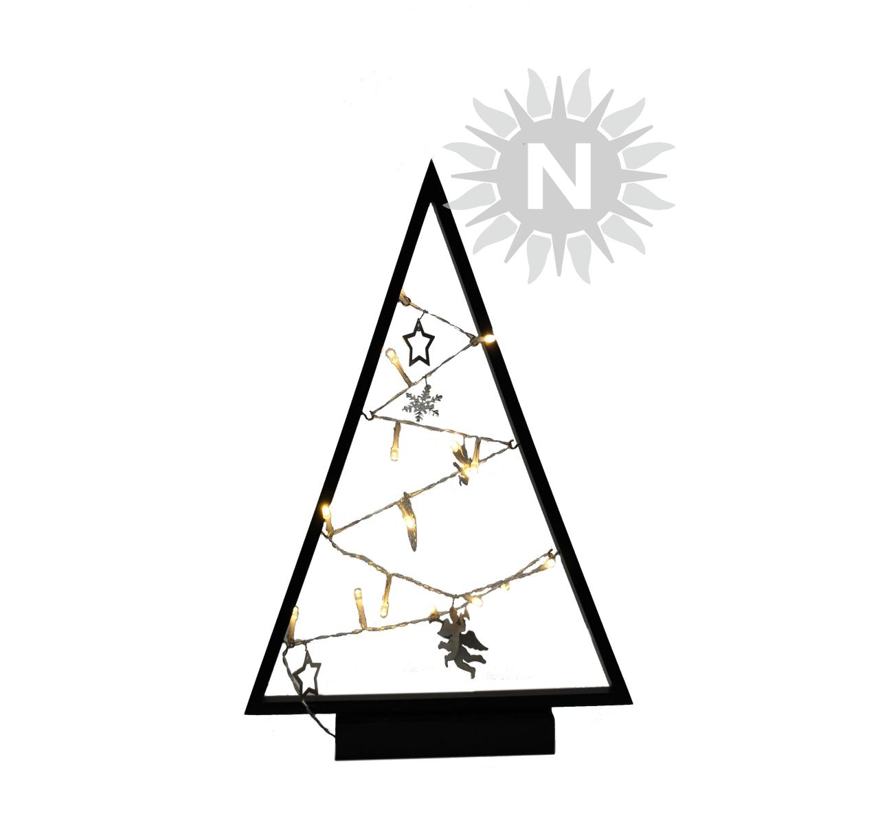 22018 – LED Weihnachtsbaum, Holz, schwarz, 15 LEDs, zum Stellen, mit ...