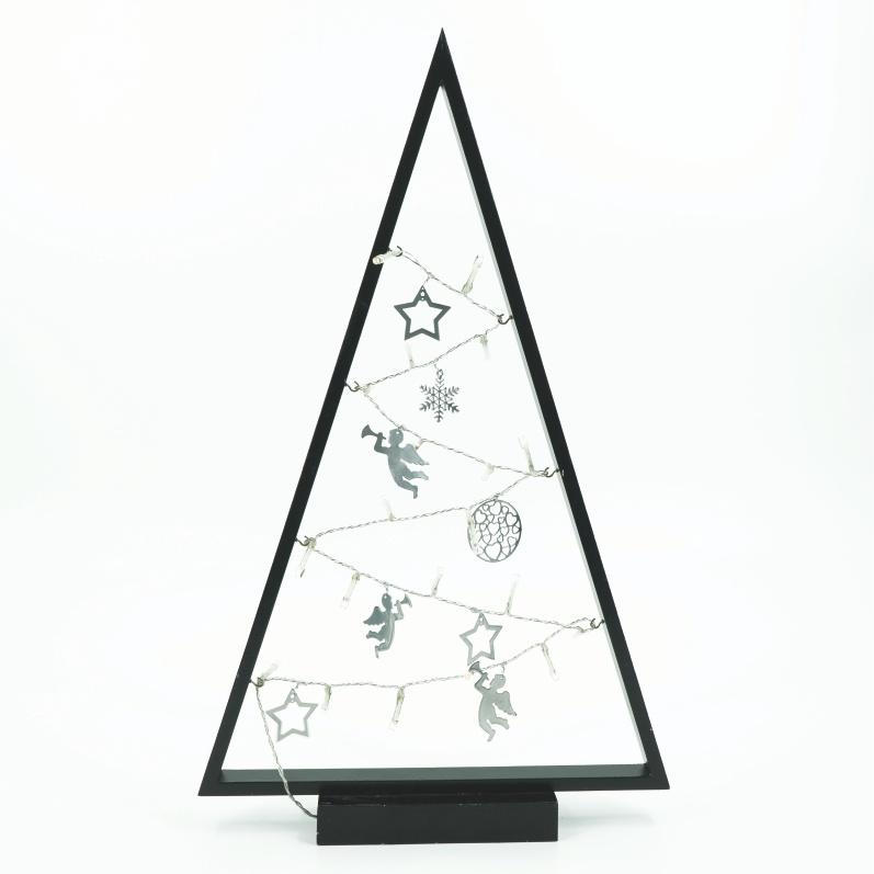 22019 – LED Weihnachtsbaum, Holz, schwarz, 20 LEDs, zum Stellen, mit ...