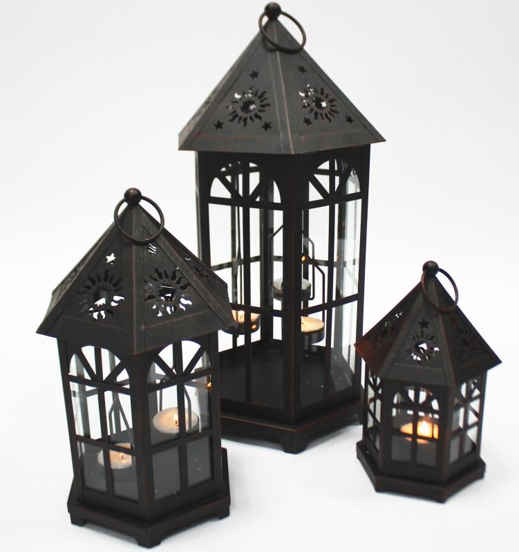 61202 laterne 3er set metall schwarz geb rstet mit ornamenten lbh 1 30x30x70cm 2 25 5. Black Bedroom Furniture Sets. Home Design Ideas