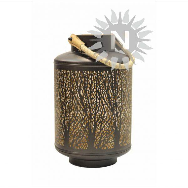 61937 windlicht m metall au en schwarz innen gold mit kordel baumdekor gefr st hd. Black Bedroom Furniture Sets. Home Design Ideas
