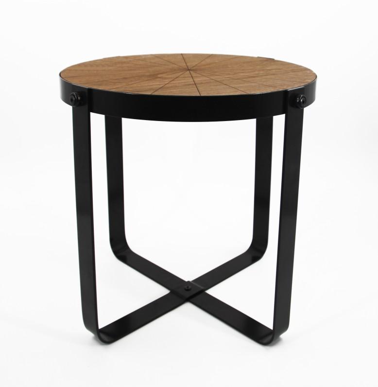 77179 tisch l metall schwarz mit eingelassener holzplatte rund dh 53 50 cm ve 2 noor. Black Bedroom Furniture Sets. Home Design Ideas