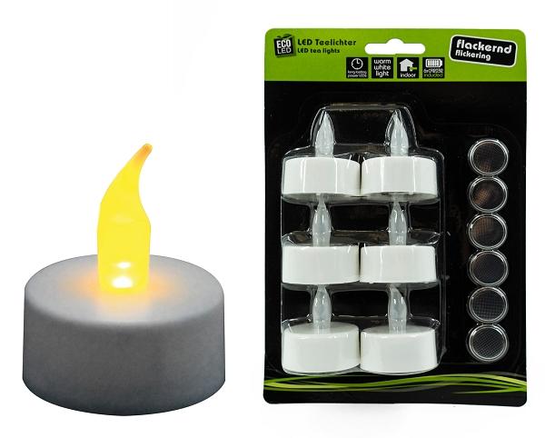88296 teelichter led s 6 mit batterie blisterkarte licht flackernd dh 3 5x2cm docht h. Black Bedroom Furniture Sets. Home Design Ideas